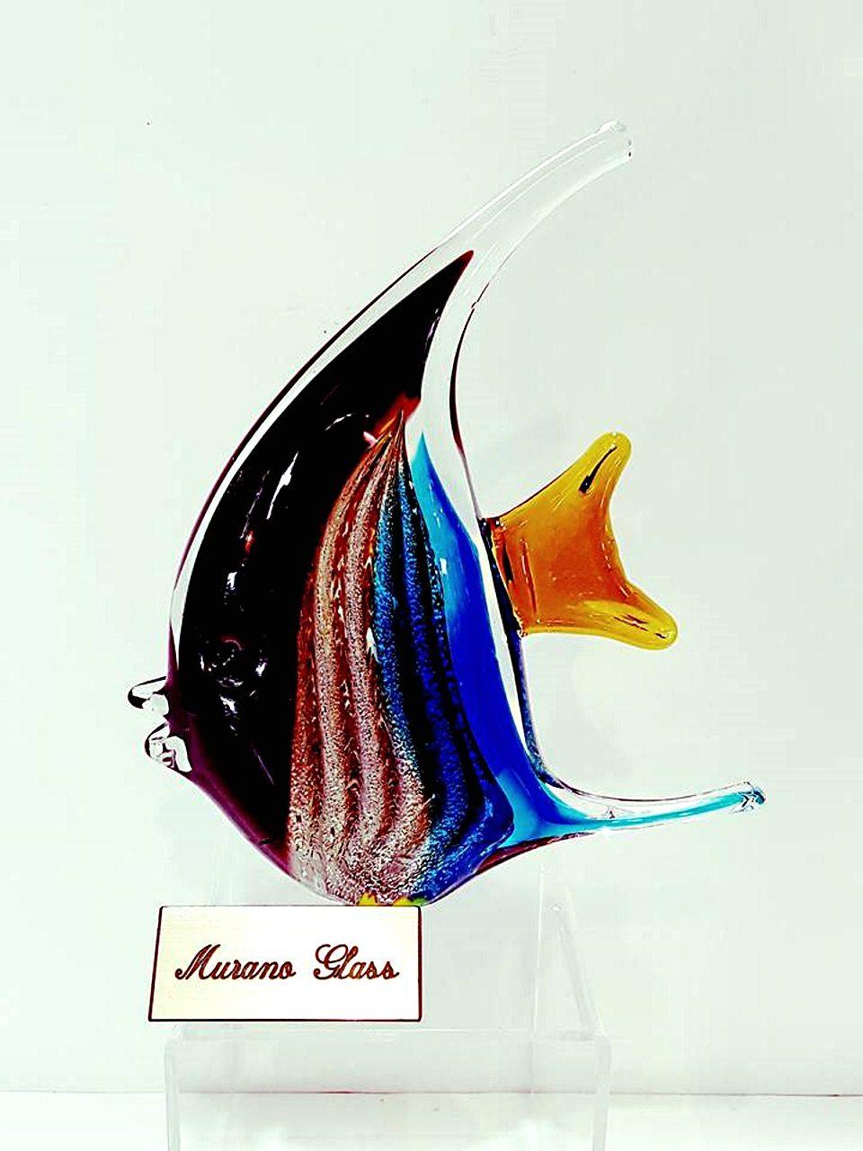 Pesce luna blu con avventurina in vetro murano