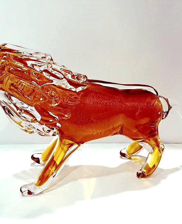 Leone di vetro di Murano colore ambrato