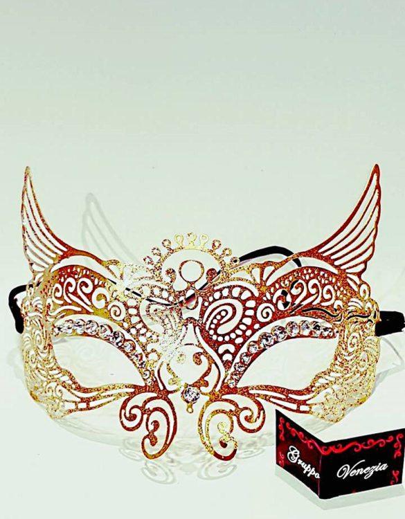 Maschere colombina metallo con stass Made in Italy colori rosso, verde, oro, blu e viola 20 x 10 cm