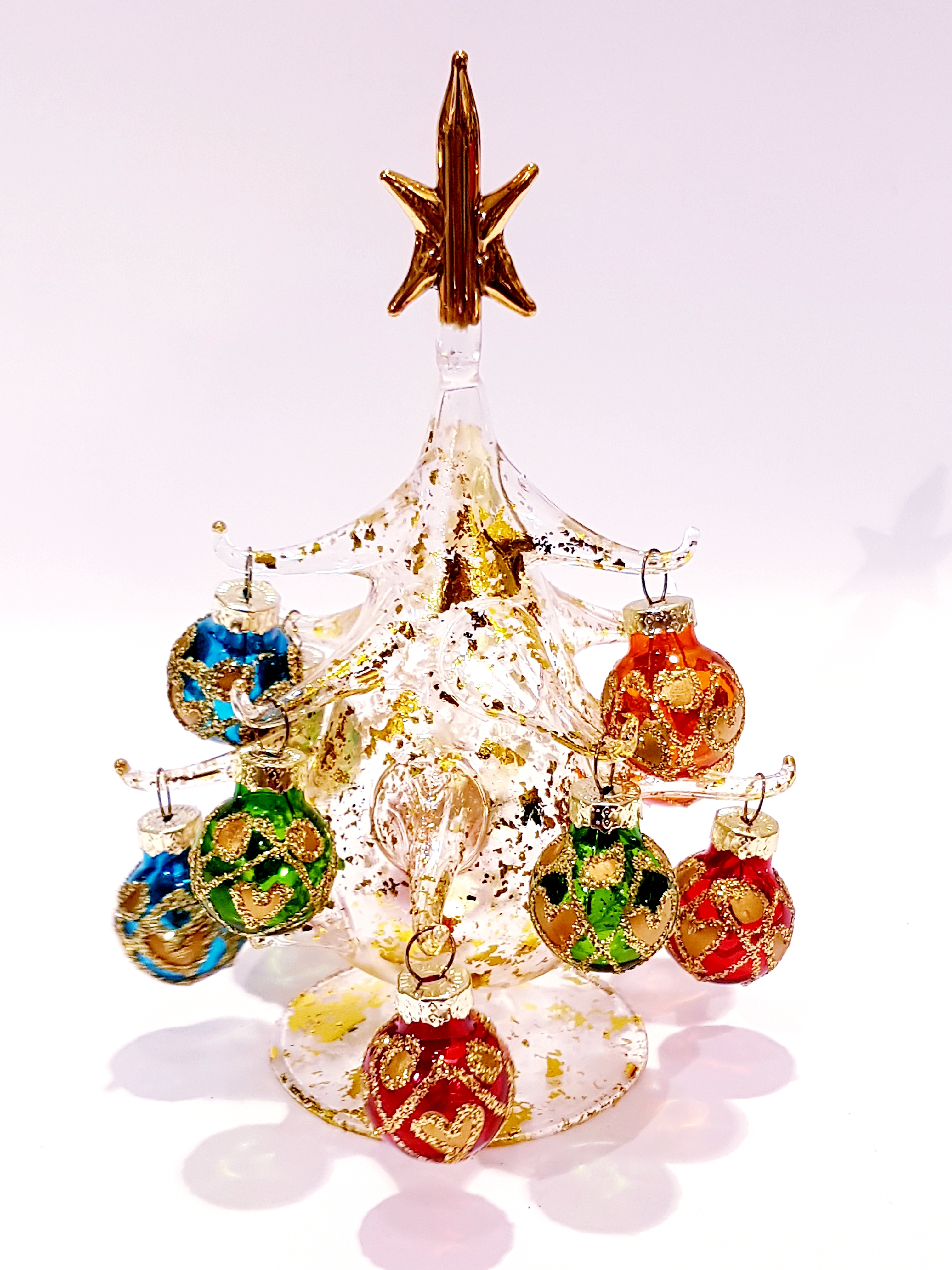 Albero Natale Immagini.Albero Di Natale In Vetro Soffiato Dorato Medio Venturini Souvenirs Vetro Di Murano E Souvenirs