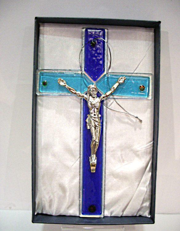 Crocefisso da parete in vetro da muro blu con murrine