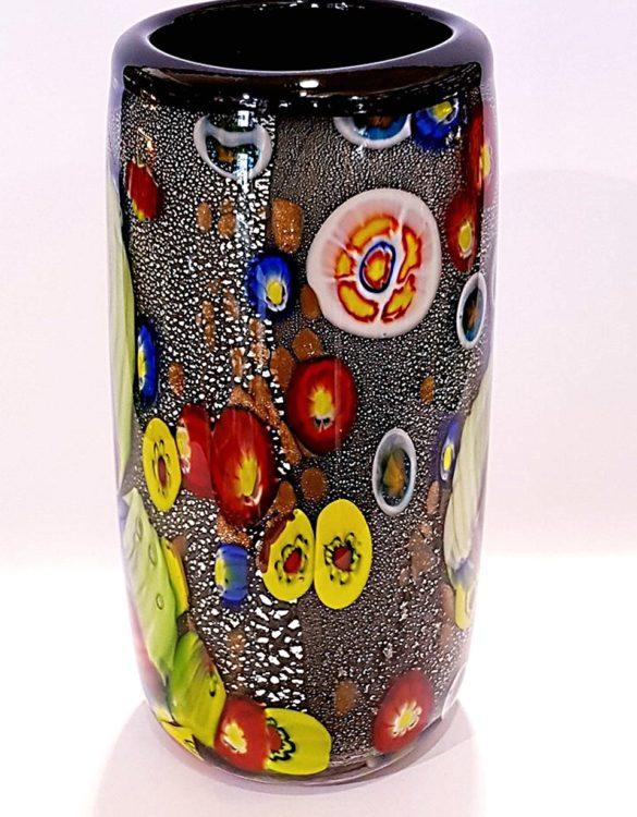 Vaso cilindrico con avventurina e murrine