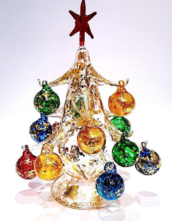 Albero di Natale in vetro soffiato dorato cm 20