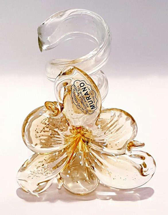 Portacandele vetro fiore oro