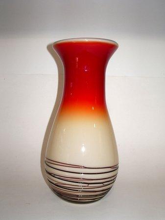 vaso di vetro arlecchinato a righe