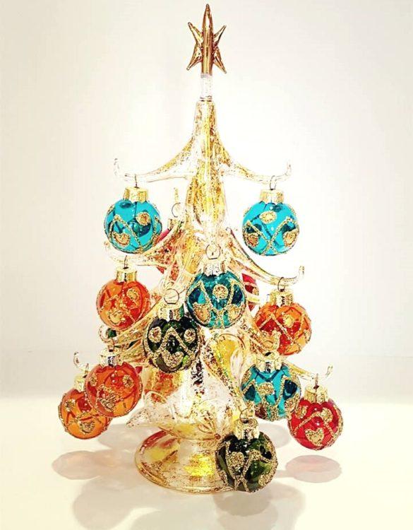 Albero di Natale in vetro soffiato dorato cm 25