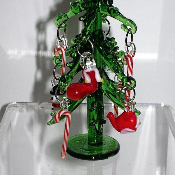 Albero di Natale in vetro con addobbi mini