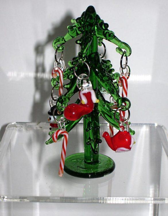 Albero di Natale in vetro verde mini