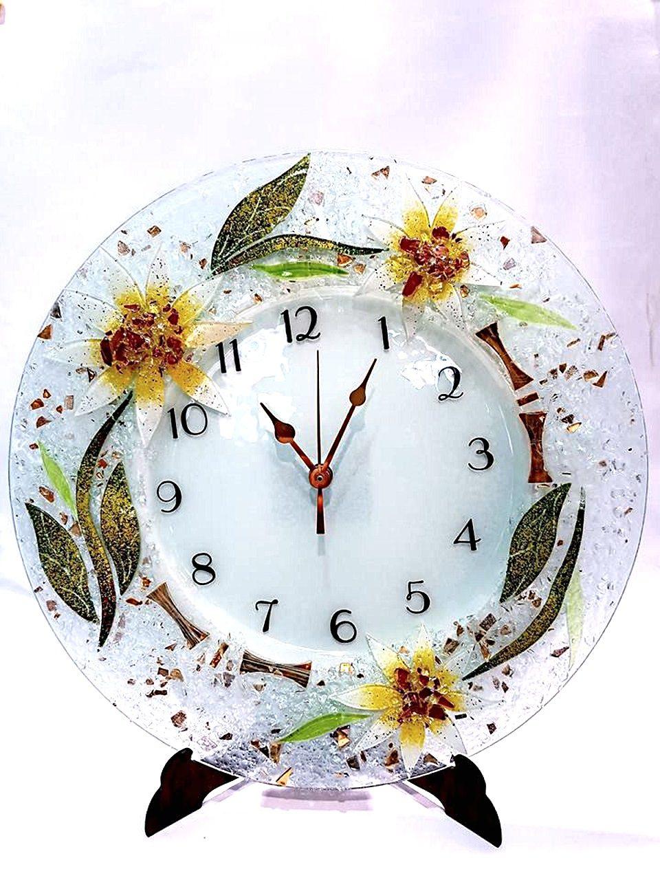Orologio rotondo gerbera in vetro veneziano