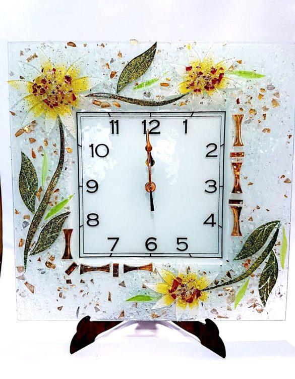 Orologio da parete gerbera in Vetro di Murano