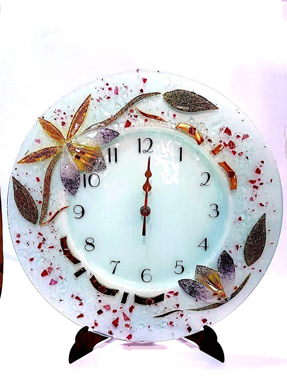 Orologio rotondo azalea vetro veneziano