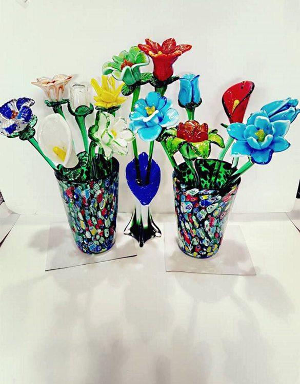 Fiori di vetro grandi di colori assortiti