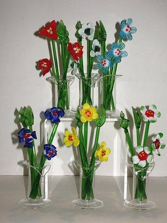 Fiori di vetro con vasetto