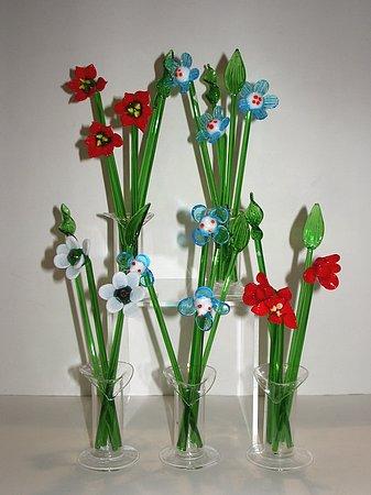 Fiori di vetro grandi con vasetto