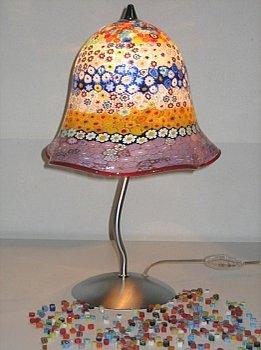 Lampada con murrina realizzata artigianalmente in vetro di Murano