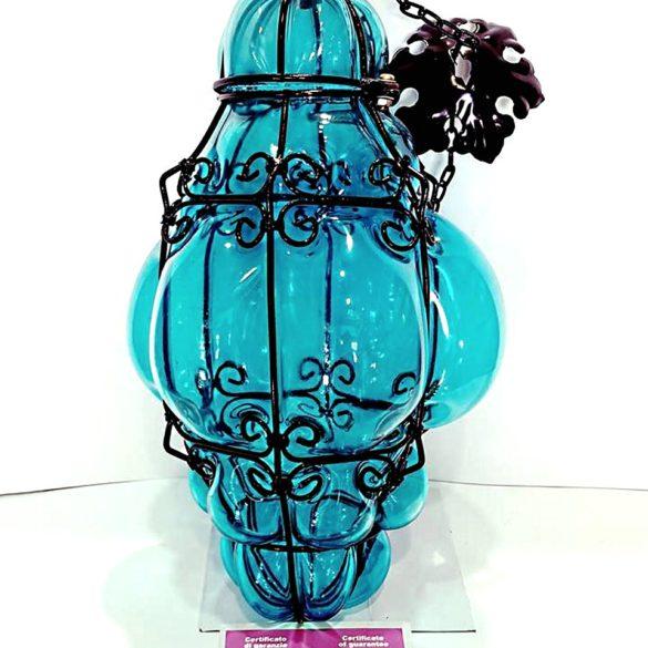 Lanterna veneziana grande in vetro artistico colore turchese