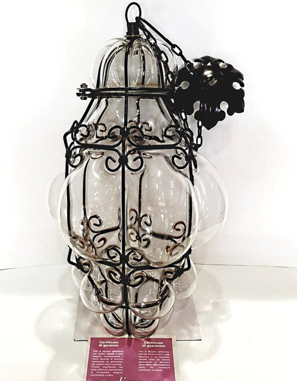 Lanterna veneziana grande in vetro artistico colore bianco