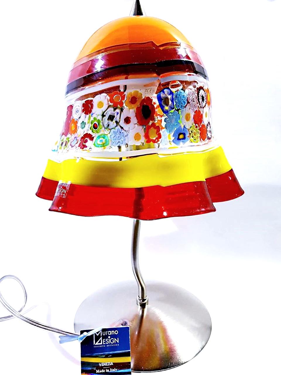 Lampada rossa e gialla con murrina