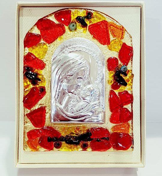 Madonna vetro con murrine da tavolo