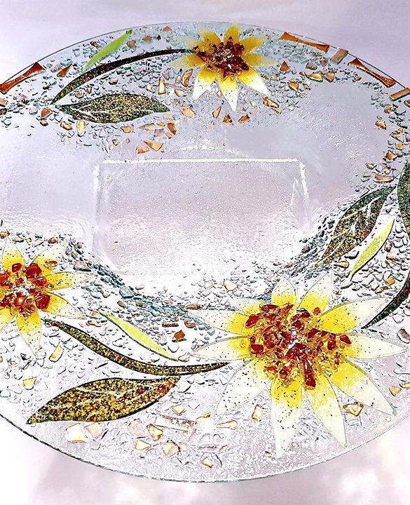 Centrotavola rotondo giallo in vetro di Murano