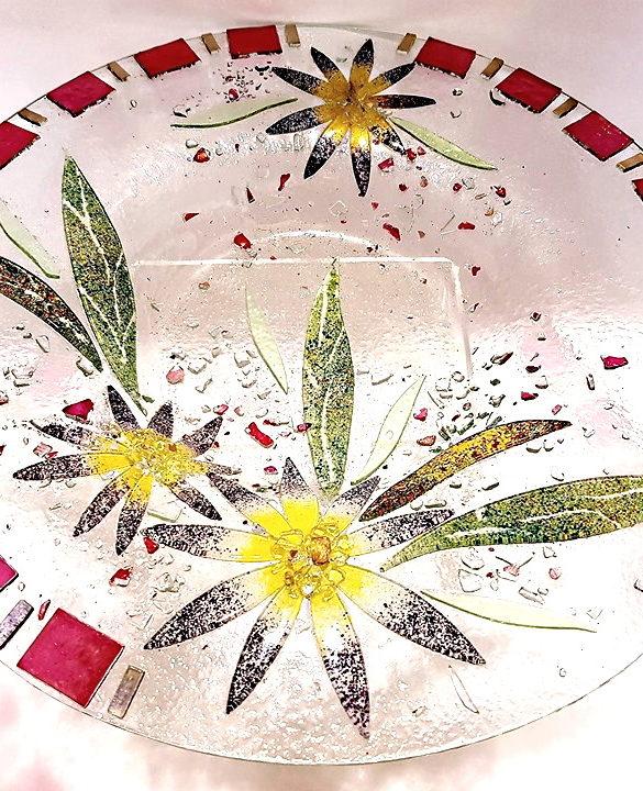 Centrotavola rotondo aster in vetro di murano