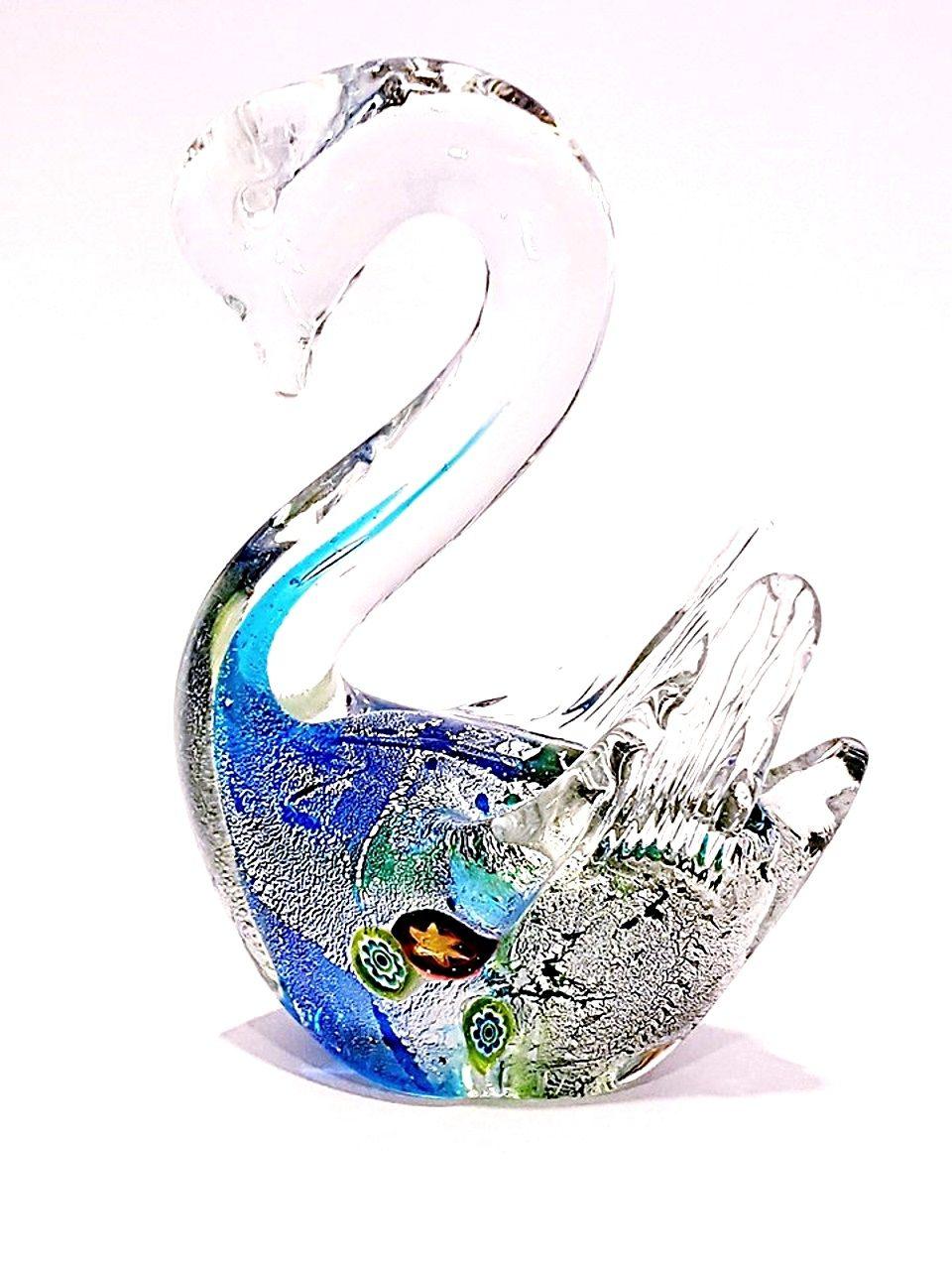 Cigno acqua marina vetro con murrine