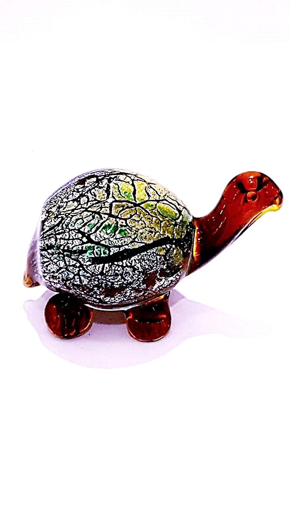 Tartaruga calcedonio vetro di murano