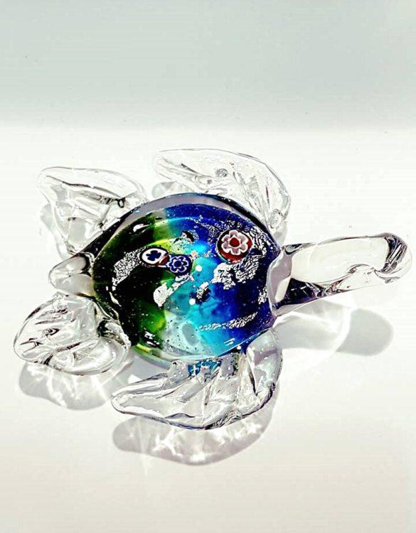 Tartaruga celeste e verde con murrina vetro murano