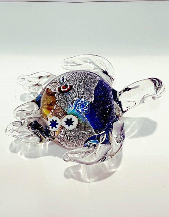 Tartaruga marrone e blu con murrina vetro murano