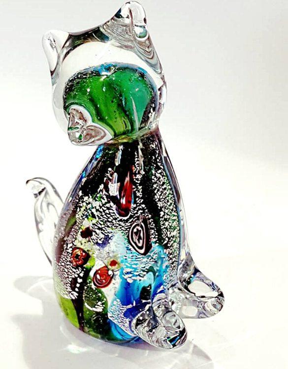 Gatto acqua marina in vetro di murano