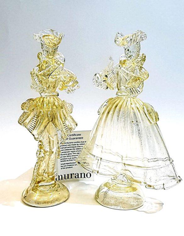 Dama e cavaliere in vetro di murano oro