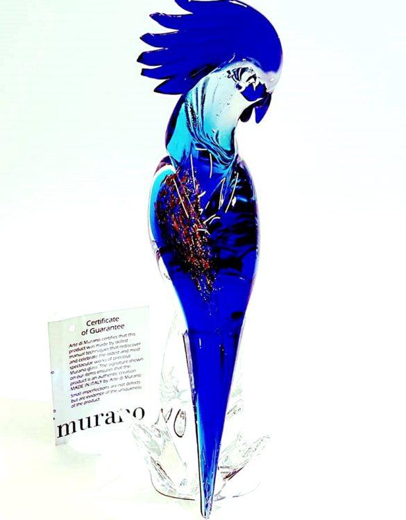 Pappagallo blu in vetro di murano