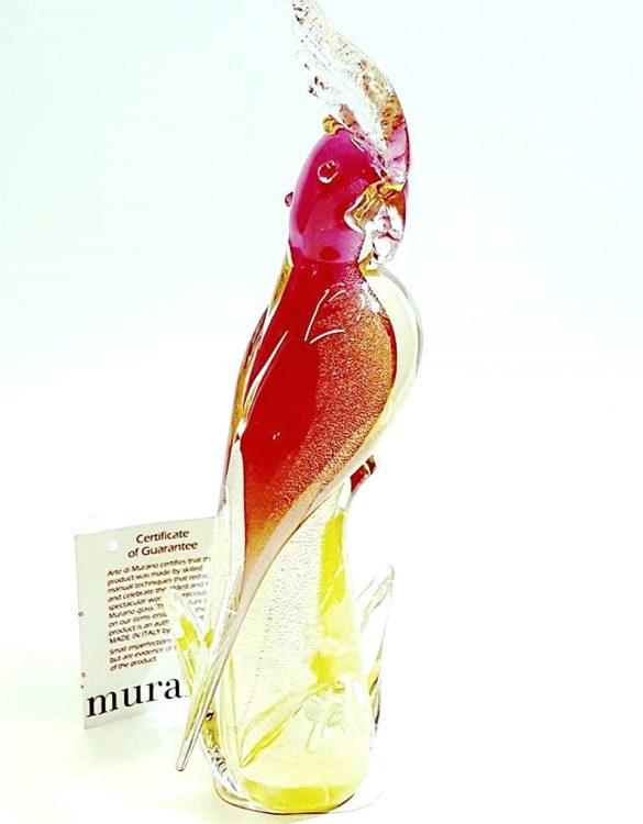 Pappagallo rosa in vetro di murano
