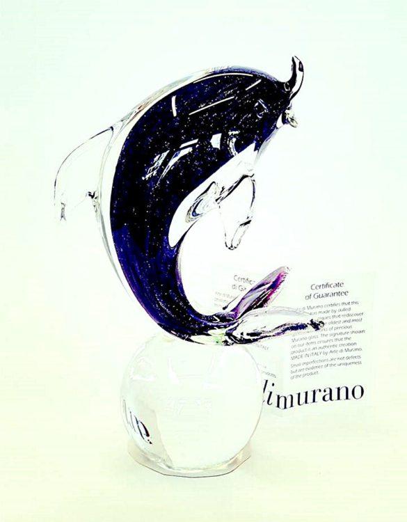 Delfino su palla in vetro di murano
