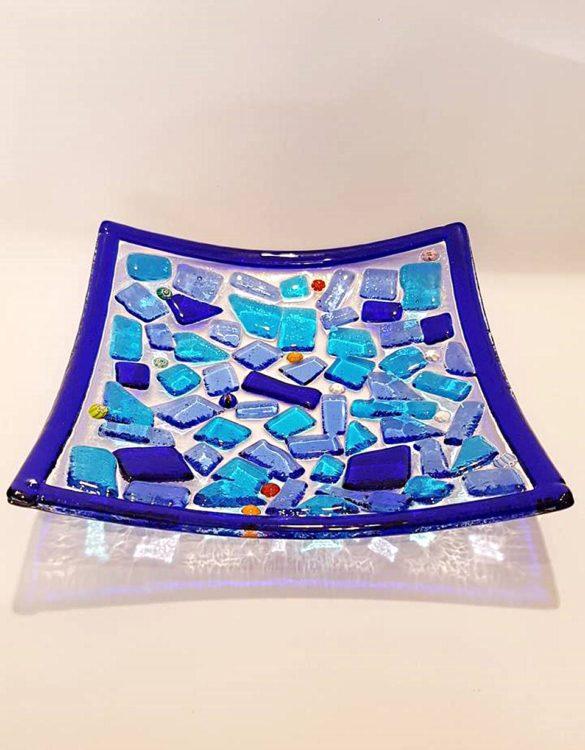 Piattino vetro murano blu