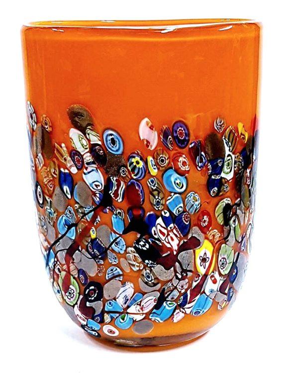 Vaso arancione ovale con murrine