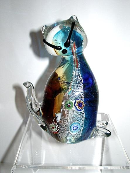 Gatto marrone e blu con murrina vetro murano