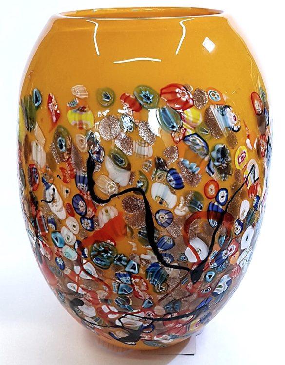 Vaso beige grande con murrine