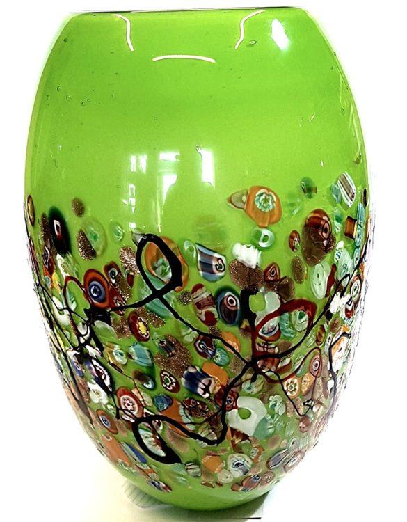 Vaso verde grande con murrine