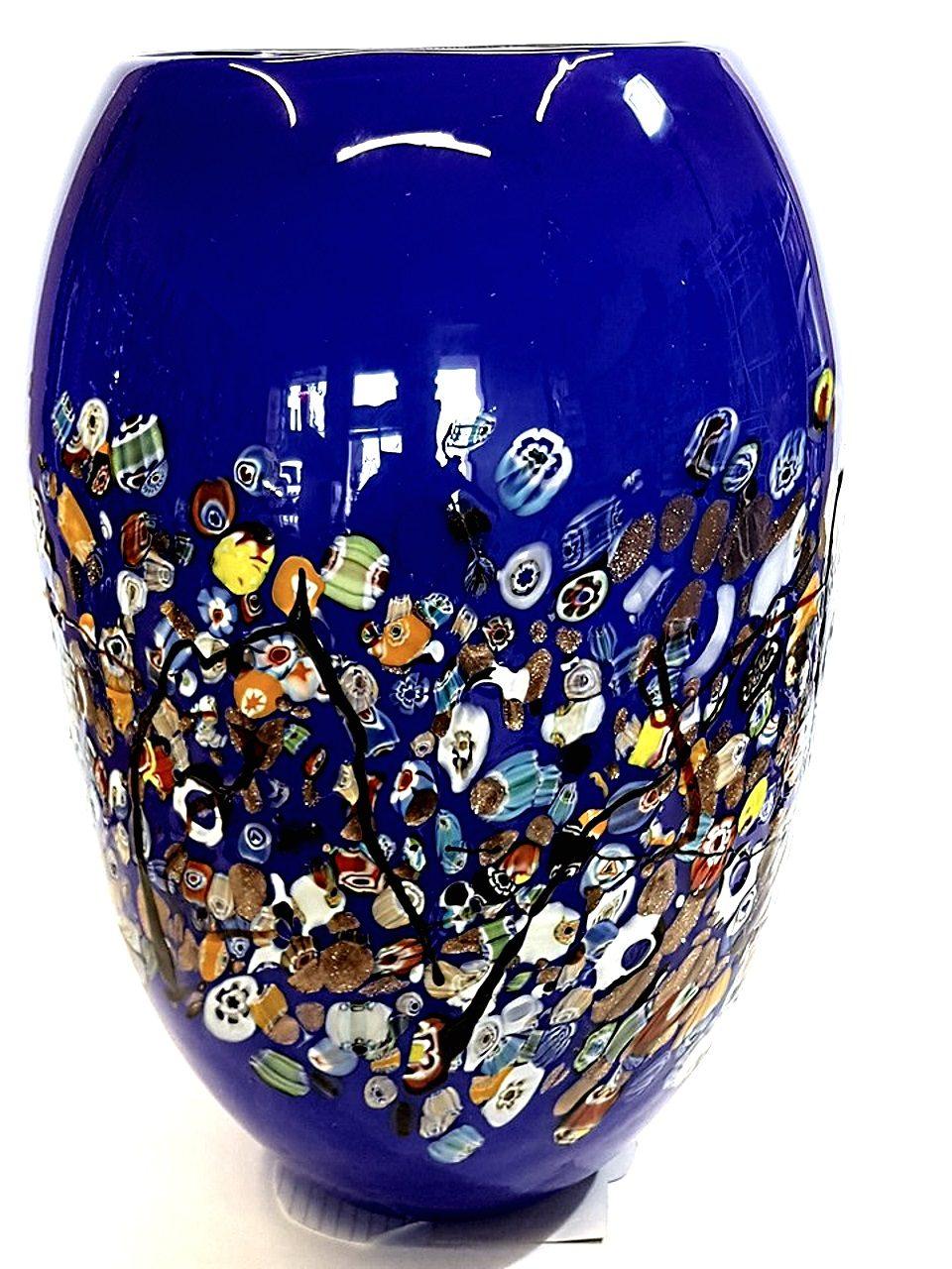 Vaso blu grande con murrine