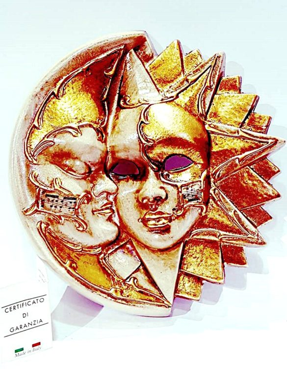 Maschera veneziana sole luna ceramica