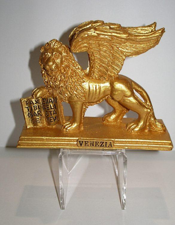 Leone San Marco in resina oro
