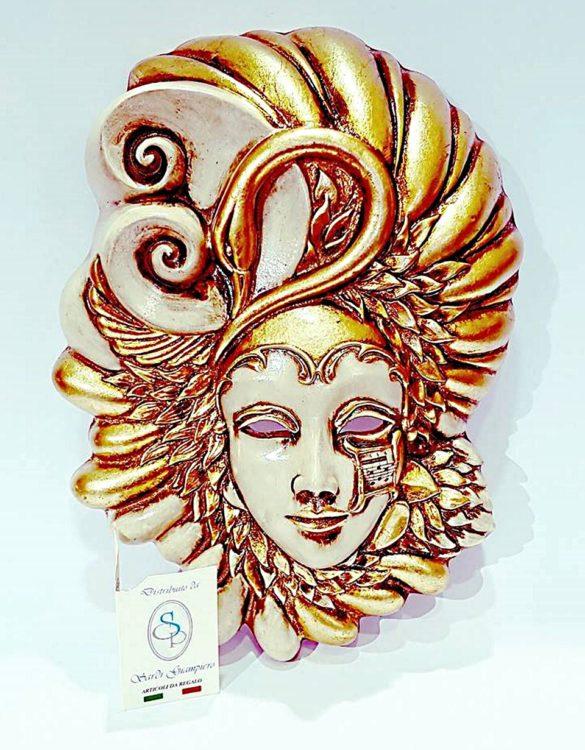 Maschera veneziana cigno ceramica