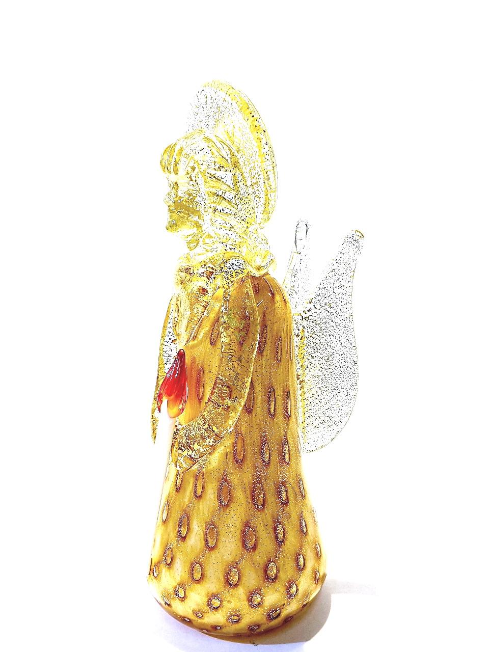 Angelo dorato in vetro di Murano