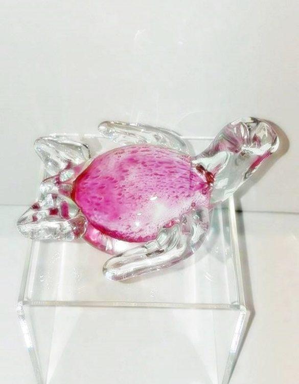 Tartaruga rosa pallino vetro murano
