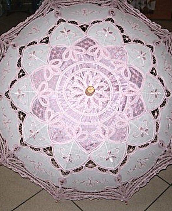 Ombrello pizzo veneziano rosa