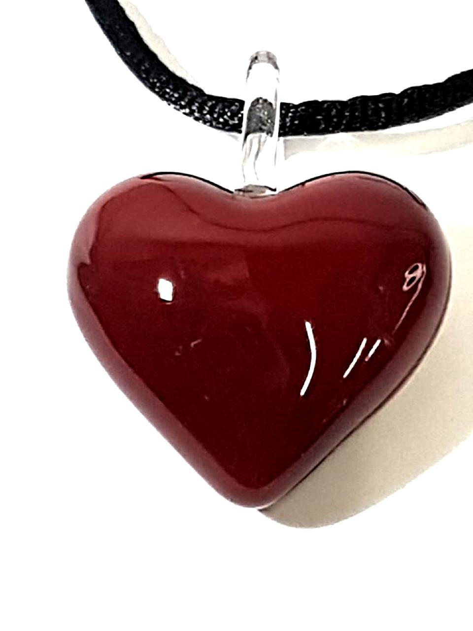 Pendaglio cuore rosso vetro di murano