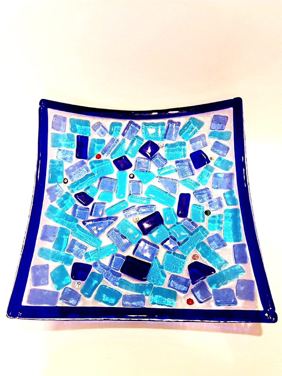 Centrotavola blu scodella vetro di murano