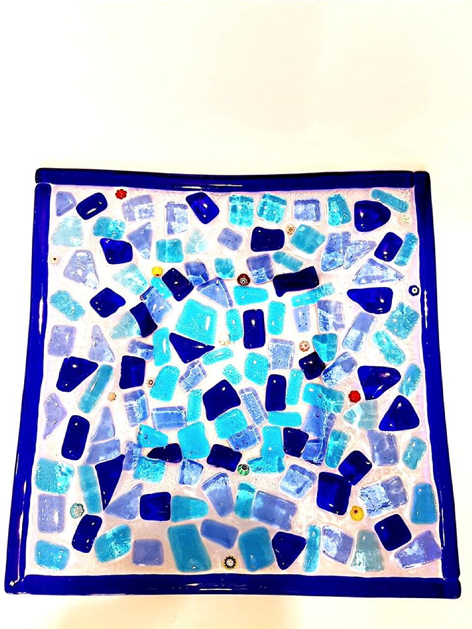 Centrotavola blu vetro di murano