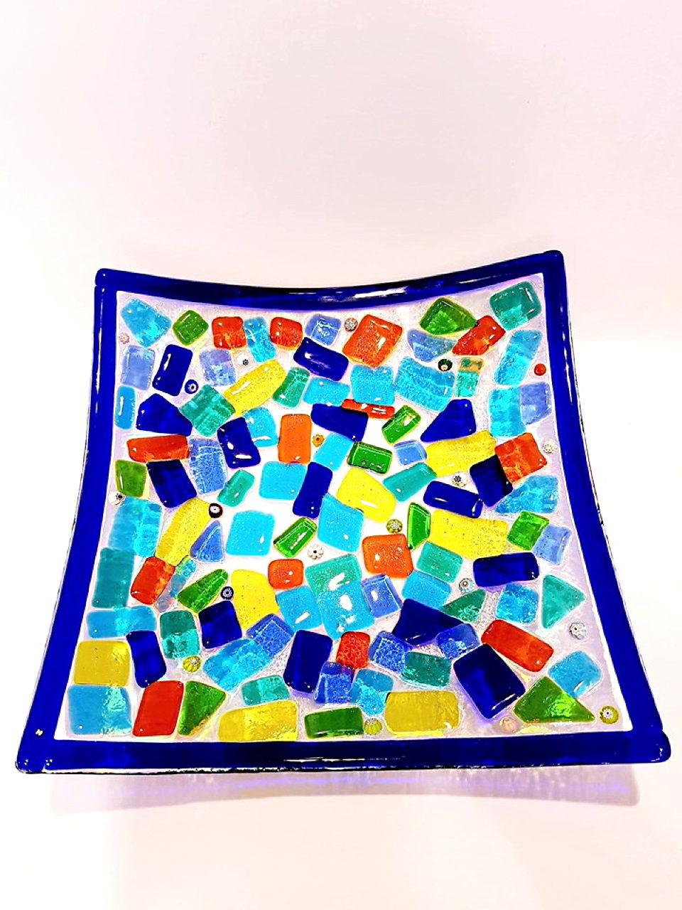 Centrotavola multicolore scodella vetro di murano